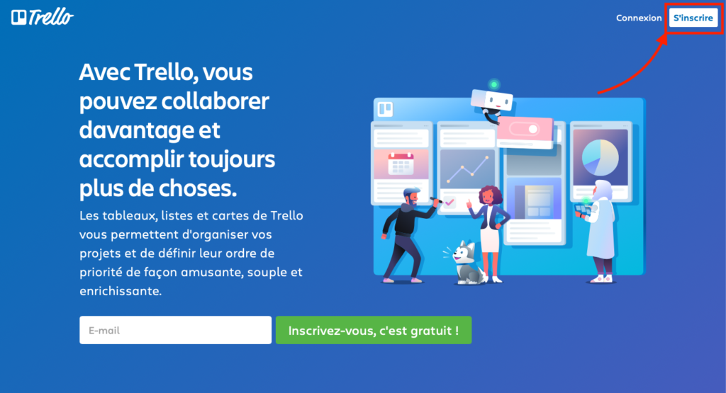 Le bouton d'inscription à Trello